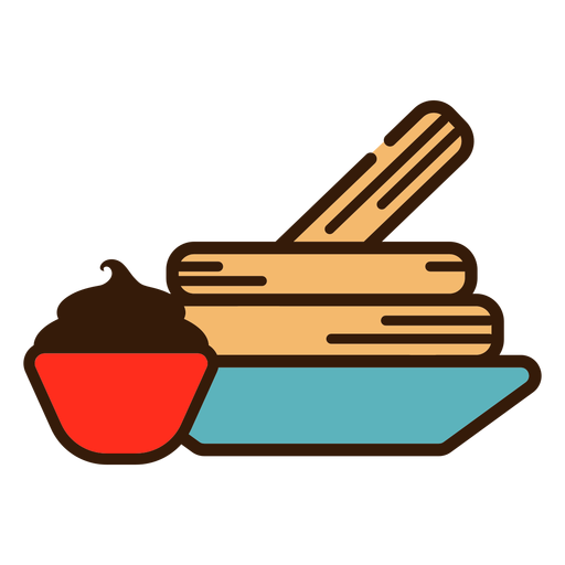 Churros and chocolate icon Transparent PNG