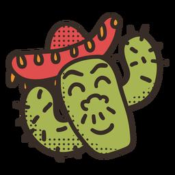 Carácter de cactus cinco de mayo