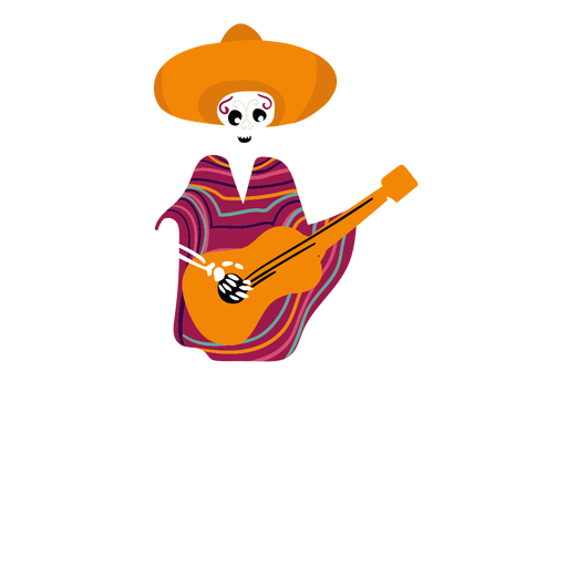 Esqueleto de cinco de mayo plano Transparent PNG