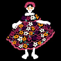 Senhora de esqueleto de cinco de maio plana