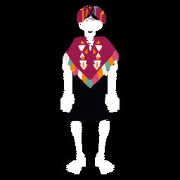 Mulher de esqueleto de cinco de maio plana