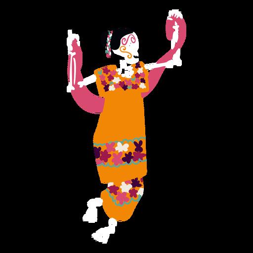 Cinco de mayo woman skeleton flat