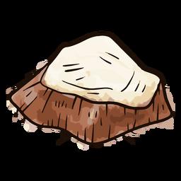 Acuarela en rodajas de coco