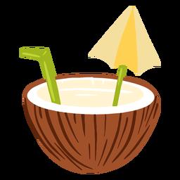 Água de coco com design de guarda-chuva
