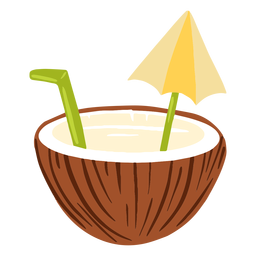 Coconut water with umbrella design