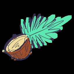 Coco con doodle de hoja