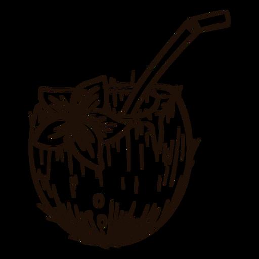 Coconut with straw hand drawn