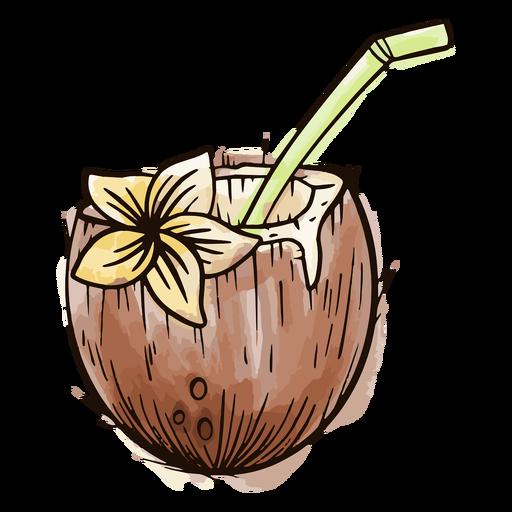 Coco con acuarela de paja