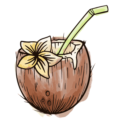 Coconut with straw watercolor