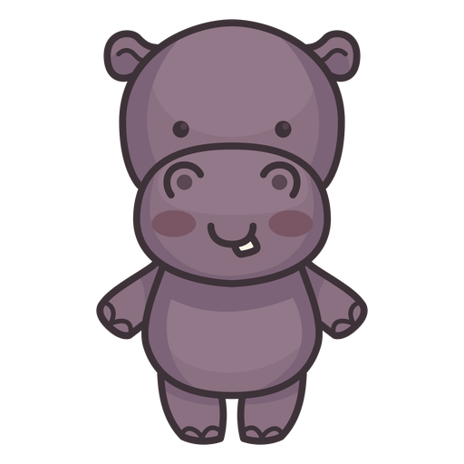 Cute hippo character Transparent PNG