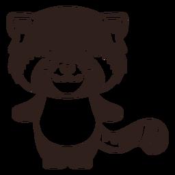 Lindo trazo de panda rojo