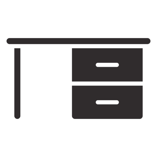 Desk with drawers black Transparent PNG