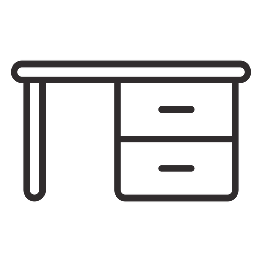 Desk with drawers stroke Transparent PNG