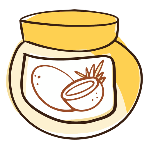 Doodle tarro de aceite de coco Transparent PNG
