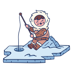 Eskimo kid fishing character