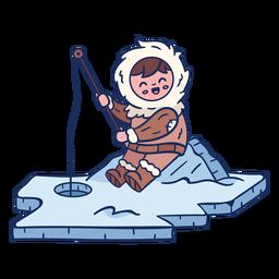 Personaje de pesca de niño esquimal