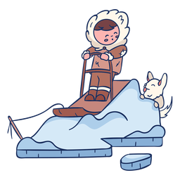 Eskimo kid with dog character