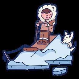 Niño esquimal con personaje de perro