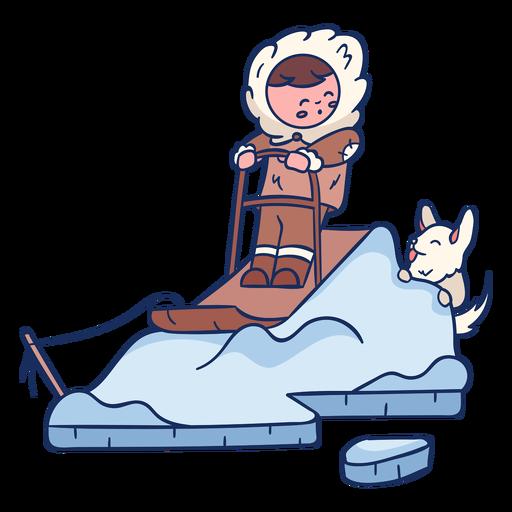 Niño esquimal con personaje de perro Transparent PNG