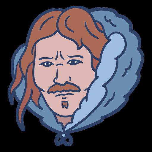 Ilustración de cara de hombre esquimal Transparent PNG
