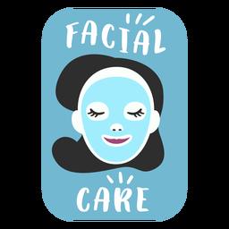 Etiqueta de baño de cuidado facial plana