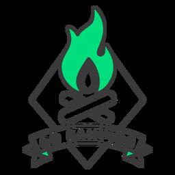 Go camping fire badge stroke