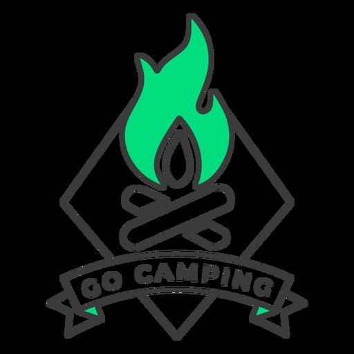 Ir a acampar insignia de fuego trazo Transparent PNG