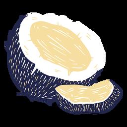 Half coconut and a slice