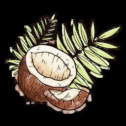 Medio coco con hojas de acuarela