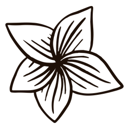 Mão de flor havaiana desenhada