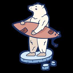 Ilustración de surf de oso polar