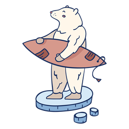 Polar bear surfing illustration