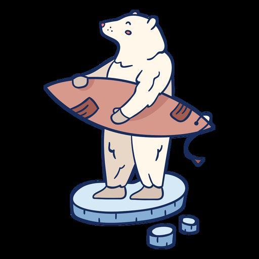 Polar bear surfing illustration