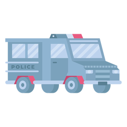 Carro de polícia de controle de tumultos plano