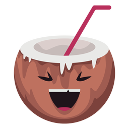 Smiling coconut character