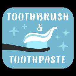 Etiqueta de baño de cepillo de dientes y pasta de dientes plana