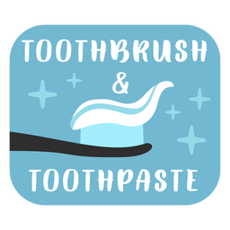 Toothbrush and toothpaste bathroom label flat