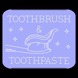 Línea de etiquetas para baño con cepillo de dientes y pasta de dientes