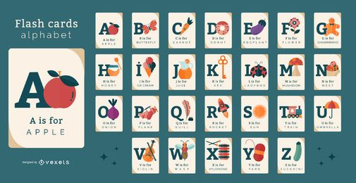 Pacote de cartões flash de alfabeto de elementos diversos