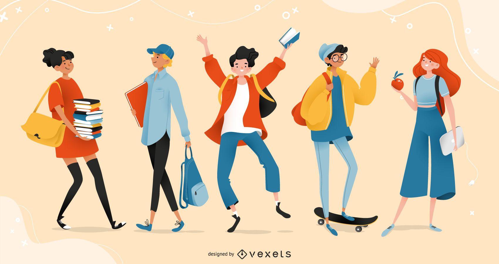 Conjunto de personagens de adolescentes do ensino médio