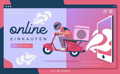 Modelo de página de aterrissagem on-line einkaufen