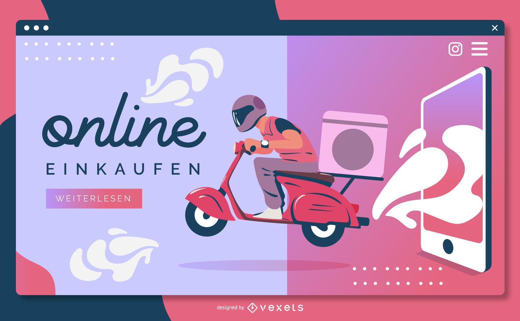 Plantilla de página de destino de einkaufen en línea