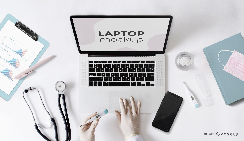 Design de maquete de tela de laptop de saúde