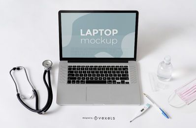 Laptop Health Composition Mockup
