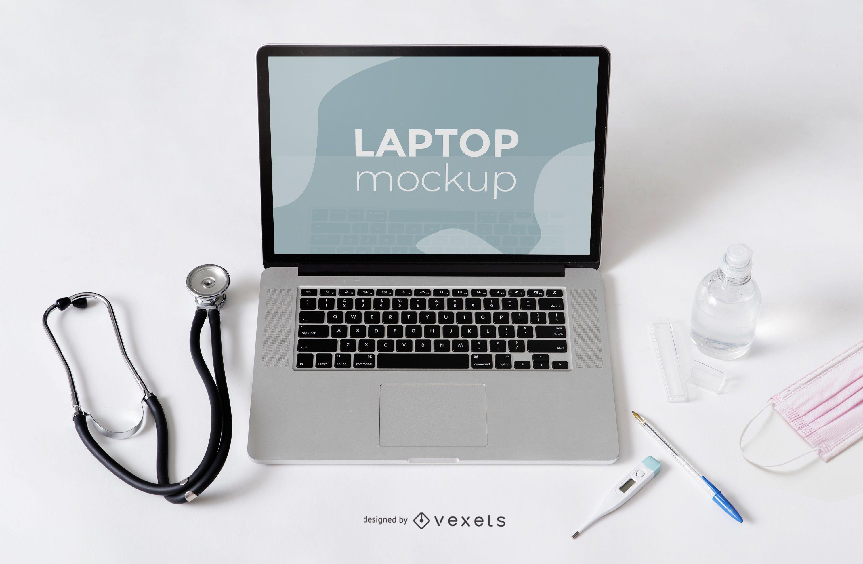Laptop Health Composition Mockup
