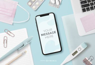 Health Elements Smartphone Screen Mockup