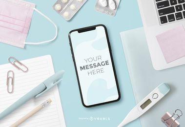 Maqueta de la pantalla del teléfono inteligente Health Elements