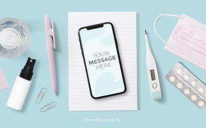 Maqueta de salud de la pantalla del teléfono inteligente