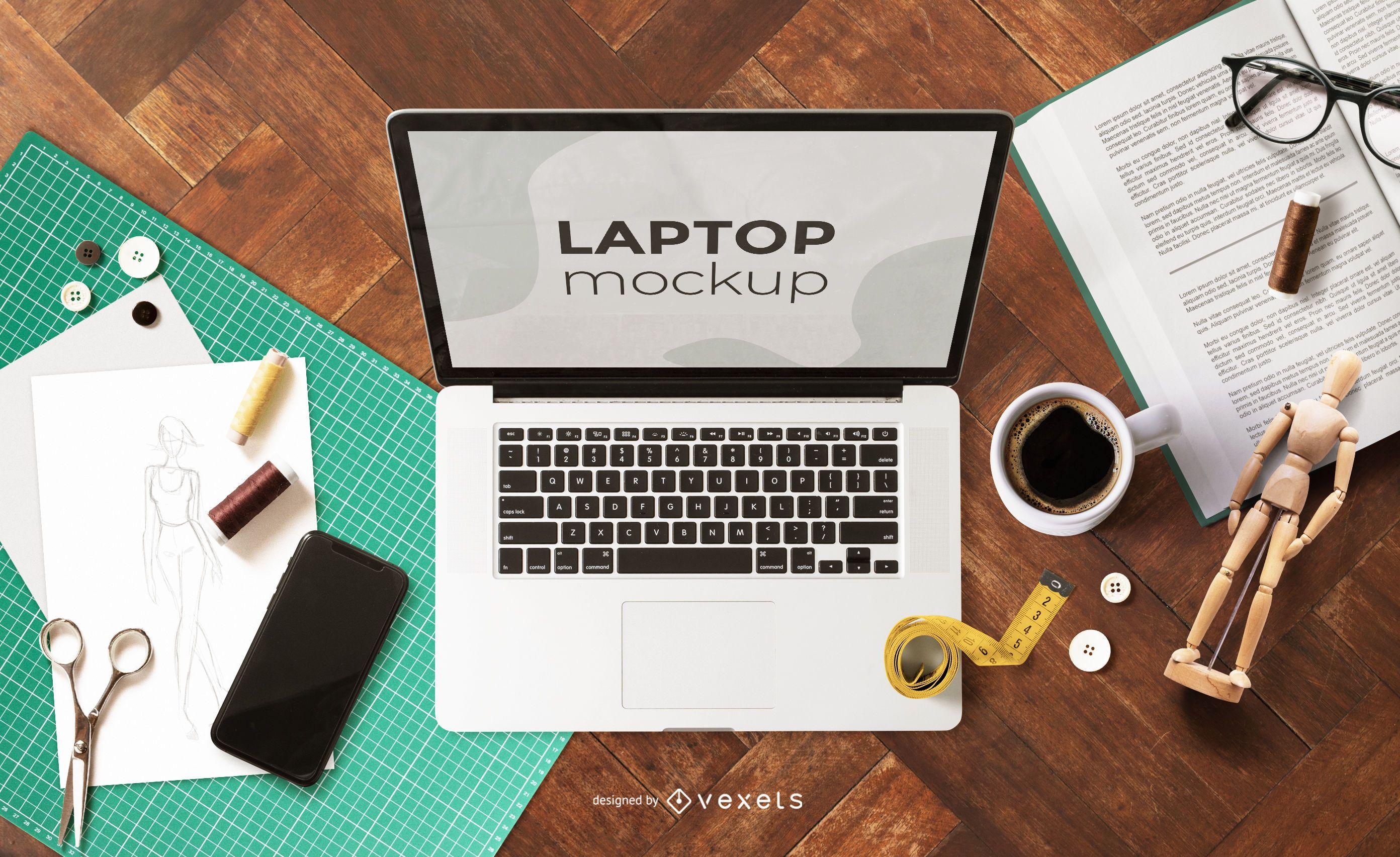 Maqueta de portátil de trabajo desde casa