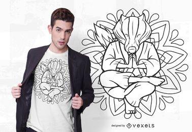 Design de t-shirt de mandala de texugo